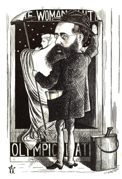 Caricature of Wilkie Collins, Frederick Waddy, 1872