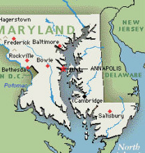 Map of the Chesapeak Bay area of Maryland