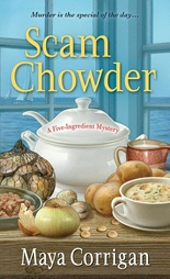 Scam Chowder cover with soup tureen, clams in shells, onions, potatoes, chowder in a bowl