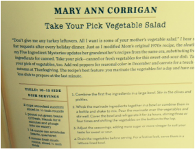 Page from the MWA Cookbook with Mary Ann Corrigan's vegetable salad recipe