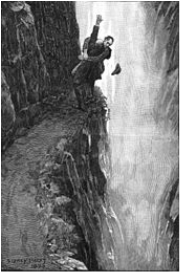 Holmes at Reichenbach Falls illustrated by Sidney Paget