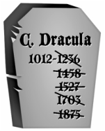 Tombstone with Dracula's year of birth and five death years crossed out