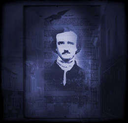 Edgar Allan Poe image against a shadowy background