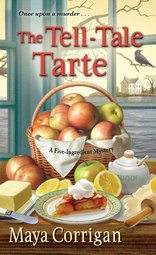 Cover of the The Tell-Tale Tarte by Maya Corrigan with ingredients for a Tarte Tatin